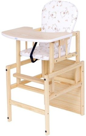 Wooden High Chair Antoś Misie Pine